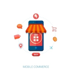 Mobile e-commerce and local shop flat icon vector image