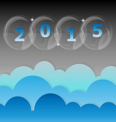New year 2015 night star and cloud sky background vector image
