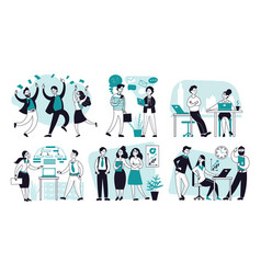 office scenes business people characters outline vector image