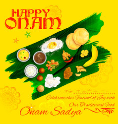 Onam Sadya feast on banana leaf vector