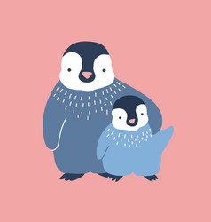 Penguin cuddling its baor chick isolated on vector