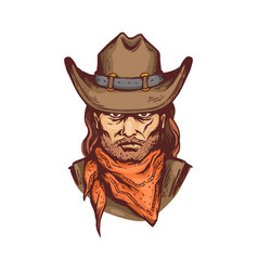 Portrait cowboy in hat and bandana cartoon vector