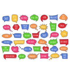 Red speech bubble with sale phrases and dotted vector