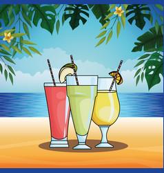 Refresment set natural juices vector