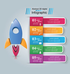 Rocket icon abstract infographi vector