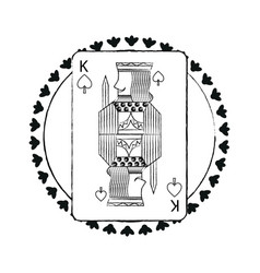 round shape of playing card king character poker vector image