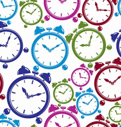 Seamless pattern with clocks wake up idea Simple vector image