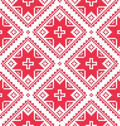 Seamless Ukrainian Slavic folk art red pattern vector