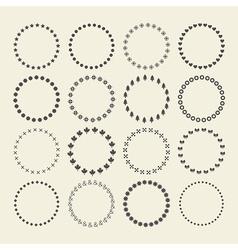 Set circle border decorative symbol patterns vector