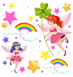 Set fairy tale fantasy cartoon character on vector