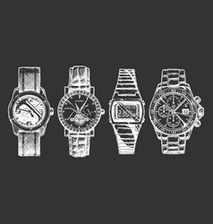 Set mens wristwatches vector