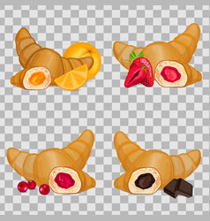 Set of croissants with different fillings vector