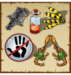 Set of different objects poison skin and other vector