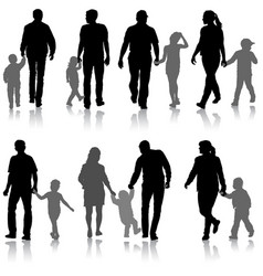 Set silhouette of happy family on a white vector