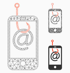 Smartphone email phishing mesh wire frame vector