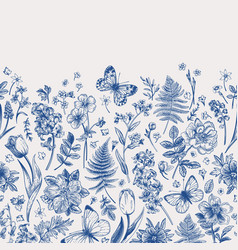 spring flowers and butterflies border vector image