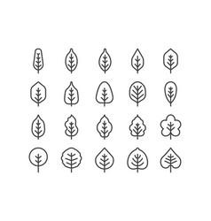 Spring leaf outline line icon set concept vector