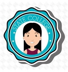 State college student emblem woman vector