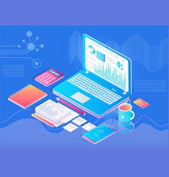 tablet on workplace in office with extra tools vector image