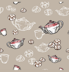 Teapots cups and cookies seamless pattern hand vector
