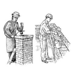 Technician bricklayer and man builder on roof vector