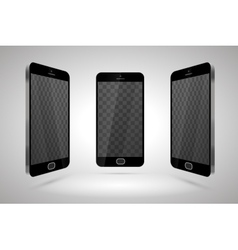 Three realistic glossy smartphones mockup with vector image