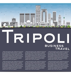 Tripoli Skyline with Gray Buildings Blue Sky vector image