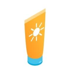 Tube with sunbathing cream icon vector
