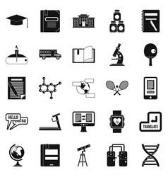 Varsity icons set simple style vector