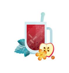 vitamin healthy herbal tea spicy drink with apple vector image