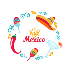 viva mexico hand drawn lettering poster vector image