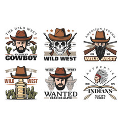 Western theme icons with cowboy in hat and weapon vector