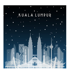 winter night in kuala lumpur night city in flat vector image