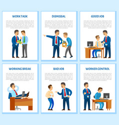 work task and order employee dismissal by employer vector image