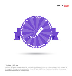 Writing pen icon - purple ribbon banner vector