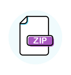Zip file format extension color line icon vector