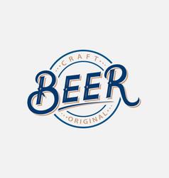 beer hand written lettering logo label vector image