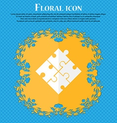 Puzzle piece icon sign Floral flat design on a vector image
