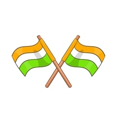 Two crossed flags of India icon cartoon style vector image vector image