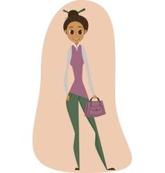 Young girl whith a handbag vector image vector image