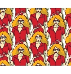 Blond pretty woman in red crowd color seamless vector image