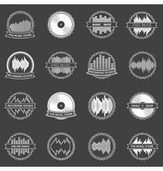 Music emblems or badges set vector image vector image