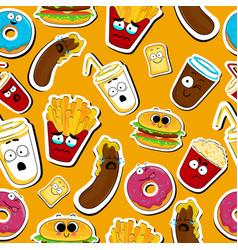 Cartoon fast food cute character seamless faces vector