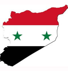Map of Syria with national flag vector image vector image