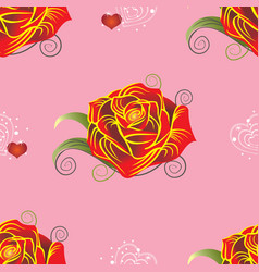 Pattern red rose with hearts on pink background vector