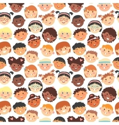 seamless pattern of kids faces different vector image