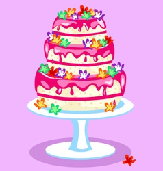 Three-tier-pink-cake vector