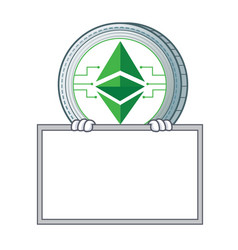 With board ethereum classic character cartoon vector