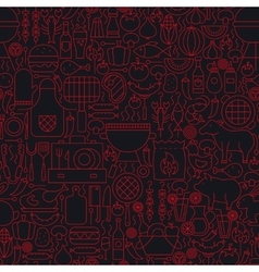 Barbecue Grill Line Seamless Pattern vector image