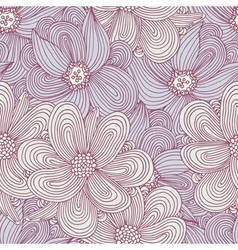 Doodle style flowers seamless pattern Floral vector image vector image